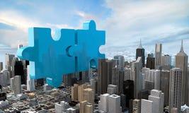 Concetto di affari di acquisizione e di fusione, puzzle 3d dell'unire royalty illustrazione gratis