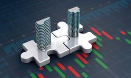 Concetto di affari di acquisizione e di fusione, società dell'unire sul puzzle royalty illustrazione gratis