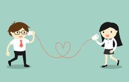 Concetto di affari, amore in ufficio L'uomo d'affari e la donna di affari che parla tramite tazza telefonano Illustrazione di vet Immagini Stock