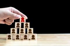 Concetto di affari di assunzione e dell'amministrazione delle risorse umane, legno Immagini Stock Libere da Diritti