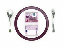 Concetto di affari - banconote del piatto, della coltelleria e dell'euro Fotografia Stock Libera da Diritti
