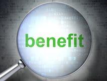 Concetto di affari: Beneficio con vetro ottico Fotografia Stock
