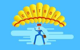 Concetto di affari Carattere elegante di vettore La gente dell'uomo d'affari che salta sul paracadute Immagine Stock