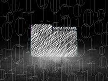 Concetto di affari: Cartella nella stanza scura di lerciume Fotografie Stock