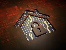 Concetto di affari: Casa sullo schermo digitale Fotografia Stock Libera da Diritti