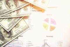 Concetto di affari con il grafico dei documenti e dei soldi immagini stock libere da diritti