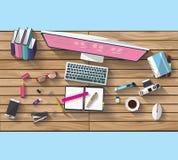 Concetto di affari - concetto del lavoro - progettazione piana - luogo di lavoro Immagine Stock Libera da Diritti