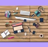 Concetto di affari - concetto del lavoro - progettazione piana - luogo di lavoro Fotografie Stock Libere da Diritti
