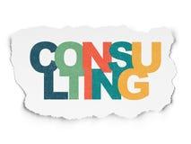 Concetto di affari: Consultandosi sulla carta lacerata Fotografie Stock Libere da Diritti