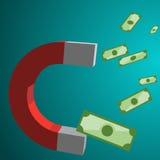 Concetto di affari del magnete dei soldi Fotografia Stock Libera da Diritti