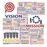 Concetto di affari del presente di passione di missione di visione illustrazione vettoriale