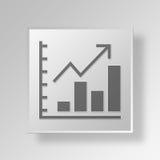 concetto di affari dell'icona del grafico di aumento 3D Fotografia Stock