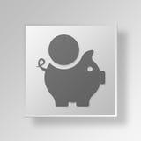 concetto di affari dell'icona del porcellino salvadanaio 3D Fotografia Stock Libera da Diritti