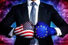 Concetto di affari della guerra commerciale fra U.S.A. e l'UE immagine stock