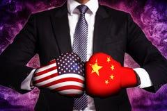 Concetto di affari della guerra commerciale fra U.S.A. e la Cina immagini stock
