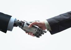 Concetto di affari delle mani del robot e dell'essere umano con la stretta di mano fotografie stock libere da diritti