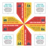 Concetto di affari di Infographic per la presentazione con le icone della fabbrica nello stile piano di progettazione - schema di  illustrazione di stock
