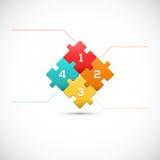 Concetto di affari di infographics del pezzo 3D di puzzle Fotografia Stock Libera da Diritti