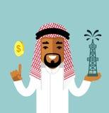 Concetto di affari di olio con l'uomo saudita Fotografie Stock