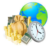 Concetto di affari di tempo dei soldi del globo del mondo Immagine Stock