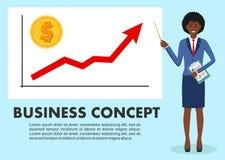 Concetto di affari Donna di affari vicino alla lavagna e ad indicare sul grafico dell'analisi dei dati di finanza Grafico con la  Fotografia Stock Libera da Diritti