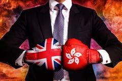 Concetto di affari e diplomatico di commercio fra Hong Kong ed il Regno Unito immagine stock