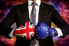 Concetto di affari e diplomatico di commercio fra Unione Europea ed il Regno Unito immagini stock libere da diritti