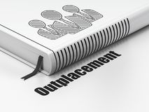 Concetto di affari: gente di affari del libro, aiuti alla riqualificazione su fondo bianco Fotografie Stock