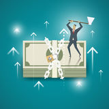 Concetto di affari Gli uomini d'affari stanno utilizzando l'ascia hanno tagliato la serratura Immagini Stock