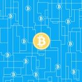 Concetto di affari globali di Bitcoin illustrazione di stock