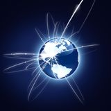 Concetto di affari globali. Versione blu Fotografia Stock Libera da Diritti