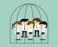 Concetto di affari, gruppo di gente di affari nella prigione Fotografia Stock
