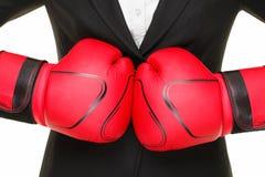 Concetto di affari - guanti e vestito di inscatolamento immagine stock