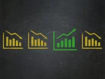Concetto di affari: icona del grafico di crescita sulla scuola Fotografia Stock