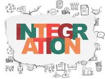 Concetto di affari: Integrazione su carta lacerata Fotografia Stock