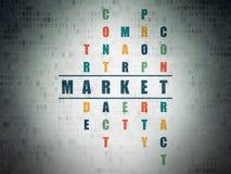 Concetto di affari: mercato di parola nella soluzione delle parole incrociate Fotografie Stock Libere da Diritti