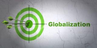 Concetto di affari: obiettivo e globalizzazione sul fondo della parete Fotografie Stock