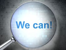 Concetto di affari: Possiamo! con vetro ottico Immagini Stock Libere da Diritti