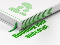 Concetto di affari: riunione d'affari del libro, costruzione il vostro successo! su fondo bianco Fotografie Stock Libere da Diritti