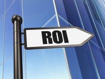 Concetto di affari: ROI sul fondo della costruzione Fotografia Stock Libera da Diritti
