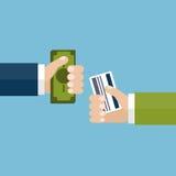 Concetto di affari Soldi di scambio per la carta di credito illustrazione di stock