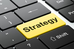 Concetto di affari: Strategia sulla tastiera di computer Fotografia Stock