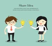 Concetto di affari, uomo d'affari e donna di affari che divide idea Illustrazione di vettore Immagine Stock Libera da Diritti