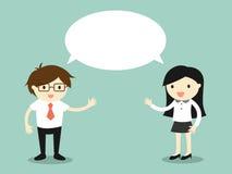 Concetto di affari, uomo d'affari e donna di affari che parla la stessa cosa o la stessi idea/concetto Illustrazione di vettore Immagini Stock Libere da Diritti