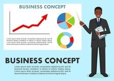 Concetto di affari Uomo d'affari vicino alla lavagna e ad indicare sul grafico dell'analisi dei dati di finanza Grafico con la li Immagini Stock