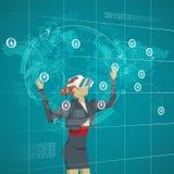 Concetto di affari Vetri d'uso mA di realtà virtuale dell'uomo d'affari Fotografia Stock