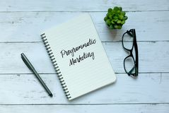 Concetto di affari Vista superiore della pianta, dei vetri, della penna e del taccuino scritti con l'introduzione sul mercato pro immagine stock