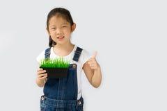 Concetto di agricoltura biologica, agricoltore asiatico del bambino, su fondo bianco Immagini Stock