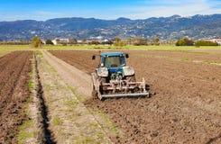 Concetto di agricoltura con il trattore Fotografia Stock Libera da Diritti