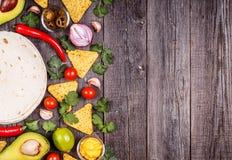 Concetto di alimento messicano, spazio della copia Fotografie Stock Libere da Diritti